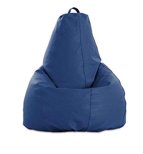 textil-home Puf - Pera moldeable XL Puff - 80x80x130 cm- Color Azul. Tejido Polipiel Alta Resistencia - Doble repunte - (Incluye Relleno Bolas Poliestireno).