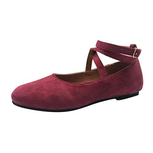 Skang Damen Geschlossene Ballerinas Flache Rund Toe Schuhe Kreuzgurt Riemchensandalen Bequeme Einfarbig Damenschuhe(40,Weinrot)