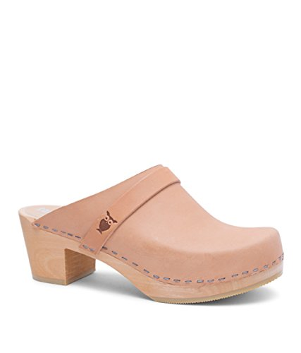 Sandgrens Swedish High Heel Wooden Clog Mules for Women US 775 | Dublin Nude Veg EU 38