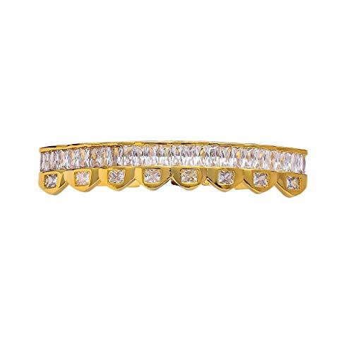 HJG 18K Gold überzog Diamant Grillz Zähne, 8 Zähne Grillz Gold Silber, Iced Out Grillz mit Extra-Molding Bars,Lower Teeth (Gold)