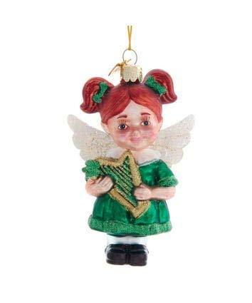 Kurt-Adler Glass Ornament with S-Hook and Gift Box, Random Collection (Irish Angel, NB1536)