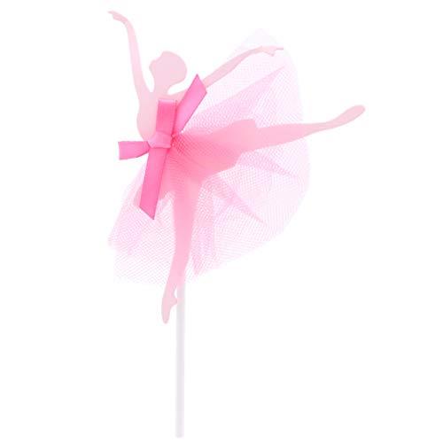 Amosfun 5 Piezas Bailarina niñas Cupcake Topper Pastel de cumpleaños Topper Fiesta Pastel Suministros para Boda Nupcial Baby Shower Fiesta de cumpleaños (Rojo)
