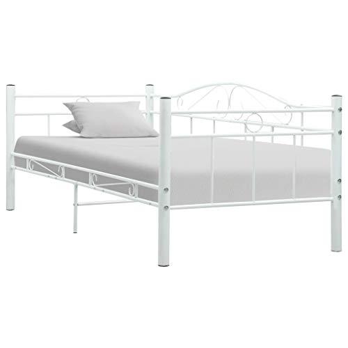Sofá CamaDiván Estructura de Cama IndividualBlanca/Negra Marco Metálico Moderna para Colchones de 90 x 200 cm para Adultos Niños Adolescentes Dormitorios [EU Stock]