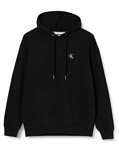 Calvin Klein Jeans Damen Large Oversized Hoodie Sweatshirt, Schwarz (Ck Black Bae), 38 (Herstellergröße
