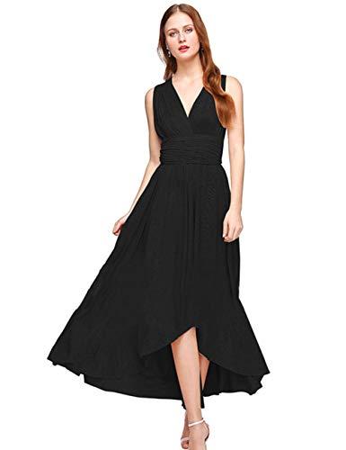 Vestido Largo Fiesta Mujer Noche Dama de Honor Vestido Tirante Multiposicion Elegante Vestido Verano Mujer Ceremonia Largo Vestido Cóctel Mujer Sexy Negro