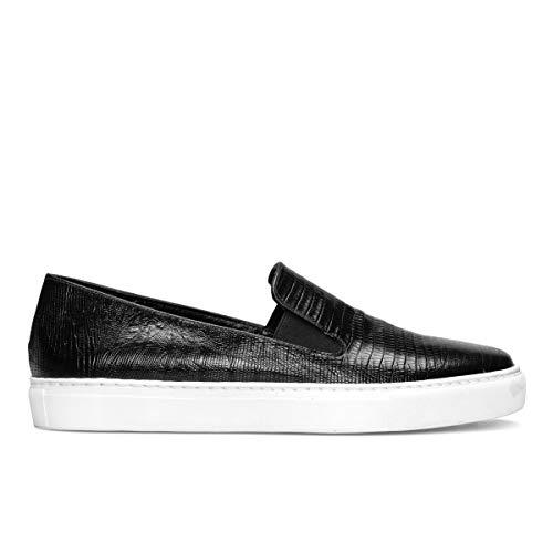 Genia – Beatriz – sneakers slip on comfortabele zwarte kleding voor dames van leer – platte zool – elastische sluiting – modieus sport casual – dierprint – zwarte Raptor
