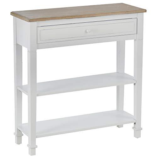 homcom Tavolo Consolle Bianco e Color Legno con Cassetto e 2 Ripiani, Tavolino Salvaspazio in MDF, 75.6 x 27.5 x 80.5cm