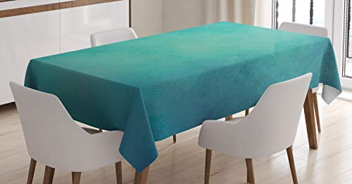 Ambesonne Teal Tablecloth, Retro Inspired Grunge Style Abstract Pattern Vintage Design Calming Color Scheme, Dining Room Kitchen Rectangular Table Cover, 52