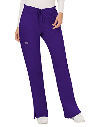 CHEROKEE Women's Mid Rise Moderate Flare Drawstring Pant, Grape, Small