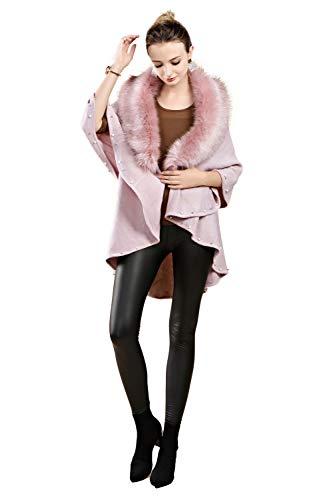 FOLOBE Damen Winter Strick Faux Pelz Poncho Capes Schal Cardigans Pullover Mantel
