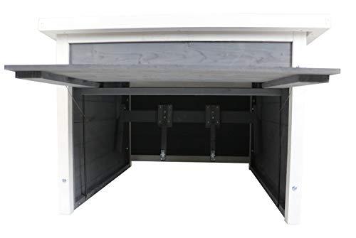 Rasenroboter-Garage, Rasenmäher Haus für selbstfahrende Rasenmähroboter, Holz grau-weiß - 5
