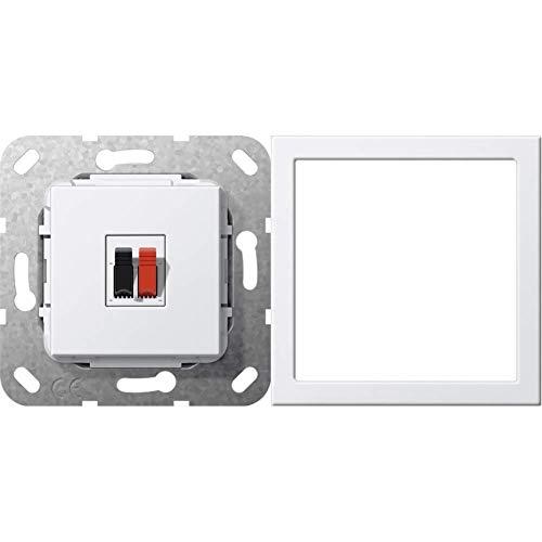 Gira 569203 Lautsprecher Anschluss 1-fach Einsatz, reinweiß & Montagerahmen bruchsicher ST55 reinweiß-glänzend, 264803