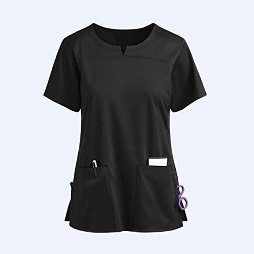 Damen Schutzkleidung Kurzarm V-Ausschnitt Lockere Oberteile Shirts Schlupfhemd Kasack mit Motiv Bedruckt Kurzarm T-Shirts Tops Kurzarm Uniform