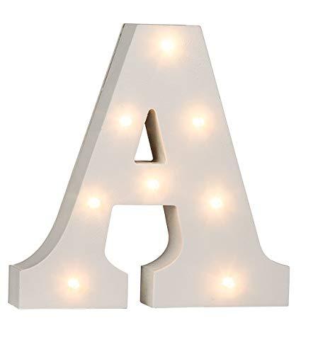 LED Buchstaben Alphabet Beleuchtet Buchstaben A bis Z und & Zeichen wählbar Holz weiß lackiert Batteriebetrieben (LED Buchstabe A)
