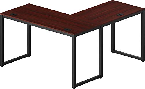 SHW Home Office 55'x60' Large L Shaped Corner Desk, Black Cherry