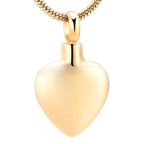 KXBY urnhanger, vuurbestating, sieraad voor as, hanger, blank hart, urnen, roestvrij staal, memorial, halsketting voor mannen en vrouwen @ goud