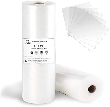 Wevac Vacuum Sealer Bags 11x50 Rolls 2 pack for Food Saver Seal a Meal Weston Commercial Grade product image