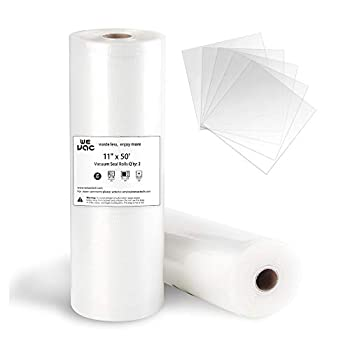 Wevac Vacuum Sealer Bags 11x50 Rolls 2 pack for Food Saver Seal a Meal Weston Commercial Grade BPA Free Heavy Duty Great for vac storage Meal Prep or Sous Vide