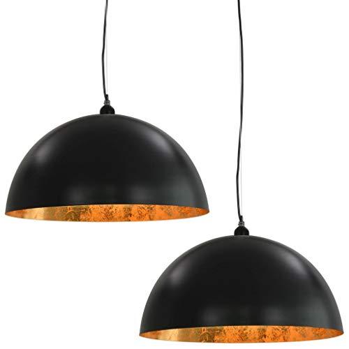 vidaXL 2x Plafondlamp Halfrond E27 Zwart Goudkleurig Licht Plafondverlichting
