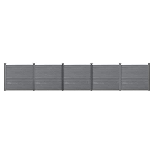 neu.holz WPC Gartenzaun Grau mit Pfosten Sichtschutz Windschutz Lamellenzaun Zaun 165x770cm