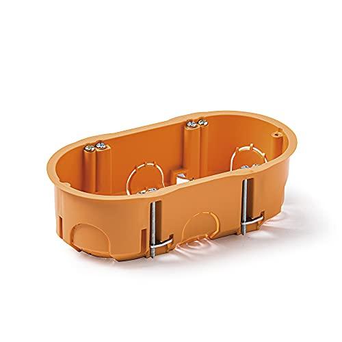 Famatel 3256 Caja empotrar para mecanismos | Doble | 67x39 mm | Naranja, Gris