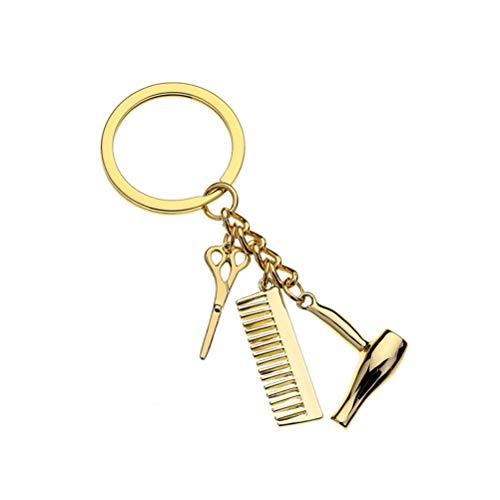 GARNECK 1PC Mode Coiffeur Sèche-Cheveux Peigne en Crayon Charme Pendentif Porte-clés Porte-clés Accessoires Créatifs (Or)