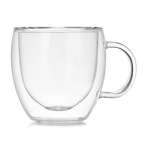 MISNODE Tazas de café de vidrio aisladas, 2 tazas de café con doble pared aisladas con asa, taza de café transparente de borosilicato para café con café con café y café helado