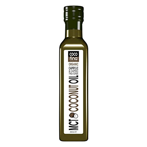 Organic MCT Oil C8 C10 Liquid Coconut Oil for Keto Diets & Bulletproof coffee high octane Gluten Free Palm Oil Free GMO Free in Opaque Glass Bottle - 250ml
