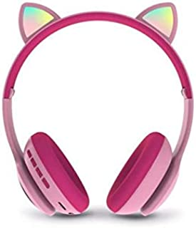 Cat Ear Wireless Headphones, Bluetooth 5.0 Bass Noise Cancelling Headphones with Built-in Microphone, Support FM Radio/TF ...