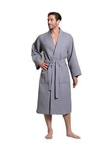 Turkuoise Linen Premium Cotton Blend Lightweight Long Waffle Kimono Bath and Spa Robe Gray, Large