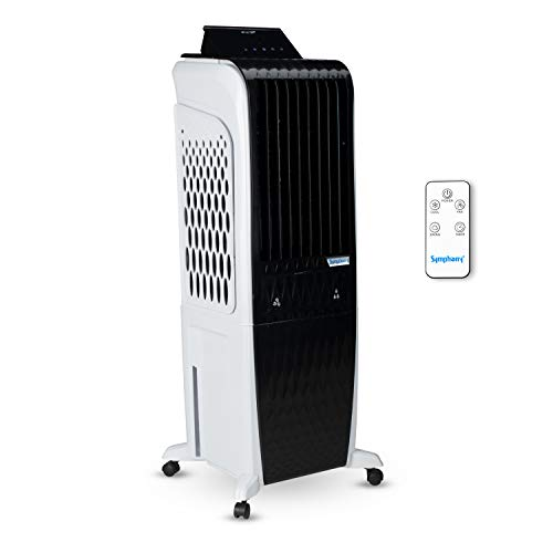 Symphony Diet 3D - 30i Personal Tower Air Cooler 30-litres with Magnetic Remote, 3-Side Cooling Pads, Pop-up Touchscreen (Black & White)