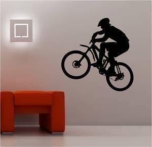 Online Design Riesigen Mountainbike Wandkunst Aufkleber Vinyl Kinder Biker - Schwarz