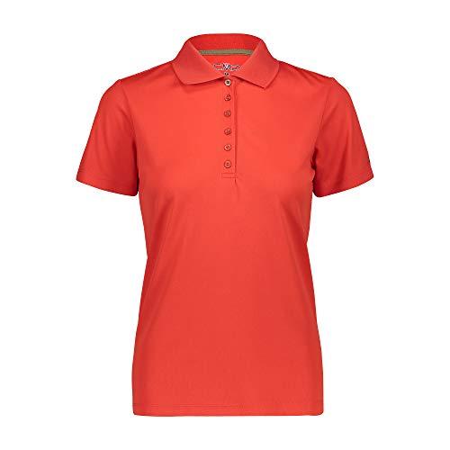 CMP Damen Atmungsaktives Poloshirt mit Komfort Fit, Scarlet, D44