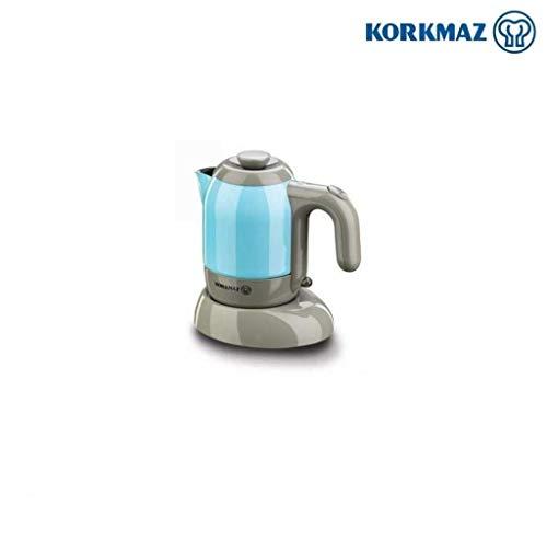 Korkmaz Mia Elektrischer Kaffeekocher Mokka Mocca A475-01 400 Watt 4 Tassen 18/10 Espresso Kocher Blau | Türkis Cezve 4 Jahre Garantie Geprüft - Elektrikli Cezve Makinesi 400W 4 Fincanlık 18/10