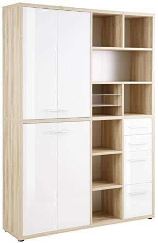 MAJA Möbel Set+ Highboard-Kombination, Holzwerkstoff melaminharzbeschichtet, Eiche Natur/Weißglas, One Size