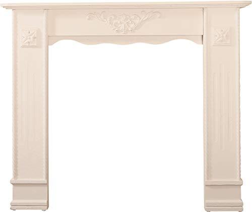 My Flair 161030 Kaminumrandung Kaminkonsole Raphael im Shabby Chic Design Weiß/Antik ca. 100 cm x 122 cm