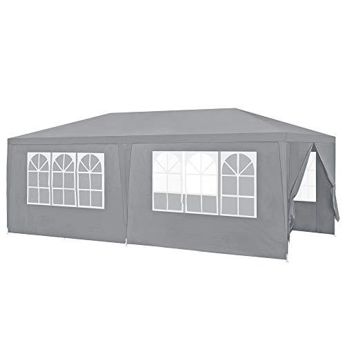 [casa.pro]® Pavillon 600x300x255cm Gartenzelt Partyzelt Gartenpavillon Bierzelt Festzelt Dunkelgrau