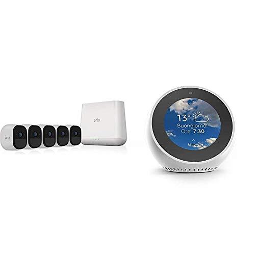 Echo Spot bianco + Netgear Arlo Pro VMS4530 Kit 5 Telecamere WiFi e Base station con Sirena, Batteria Ricaricabile, Audio a 2 Vie, Interno/Esterno, Visione Notturna, Bianco