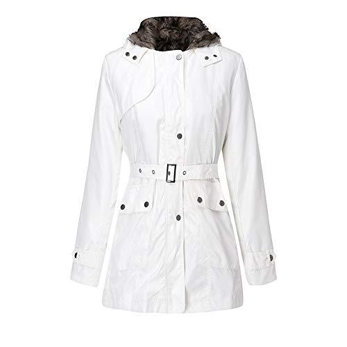 Vrouwen Hooded Coat=Dames Lange Mouw Winter Warm Up Wol Rits Riem Katoen Outwear=Mode Tops Maat 8-18