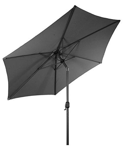 Spetebo Alu Sonnenschirm 300 cm mit Knickgelenk + Kurbel - grau - Martktschirm Kurbelschirm