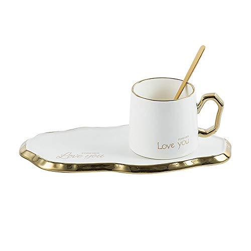 SXXYTCWL Conjunto de Taza de café Cerámica Oro Trazado Pequeña Capacidad Milk Cup Taza de Oficina platillo con Cuchara Taza de café Familia Desayuno Taza Bandería Bandería 260 ml (Ne
