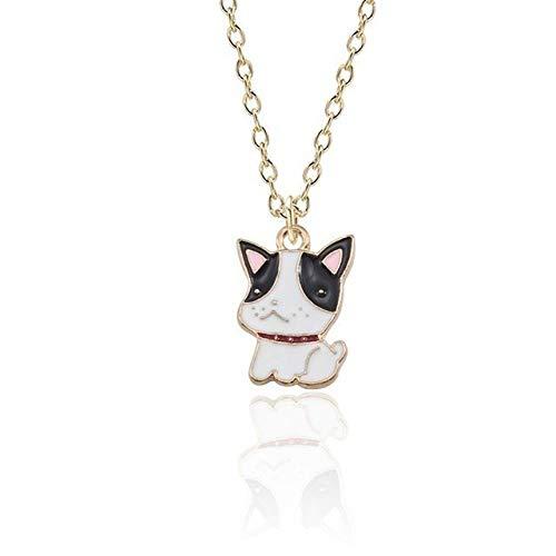 XCWXM Kette Damen Hund Anhänger Halskette Niedlichen Tier Halskette Für Frauen Chihuahua Shar Pei Goldkette Kawaii Mädchen Kinder Schmuck Weihnachten Xl0015-Weiß