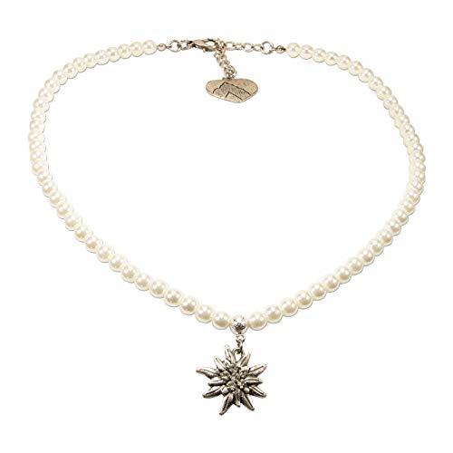 Alpenflüstern Perlen-Trachtenkette Strass-Edelweiß klein - Damen-Trachtenschmuck Dirndlkette Creme-weiß DHK237