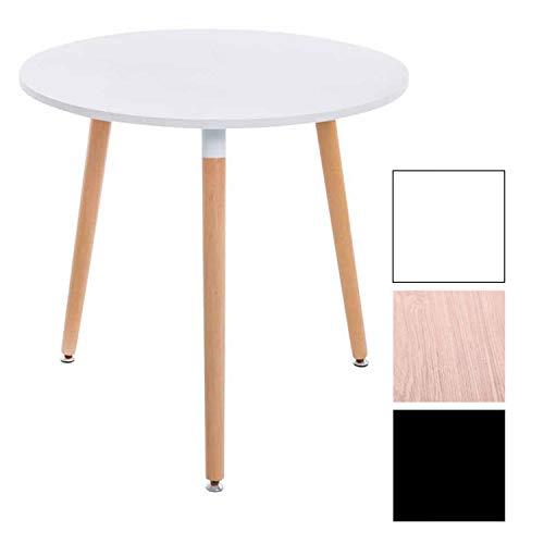 CLP Retro-Design Küchentisch ANSGAR mit 3 Holzbeinen I I rund Ø 80 cm I Tischhöhe 75 cm Weiß, Natura
