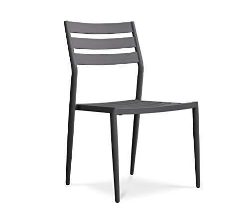 DCB GARDEN Gabin Chaise de Jardin, Aluminium, Anthracite, L 53 x l 47 x H 86 cm