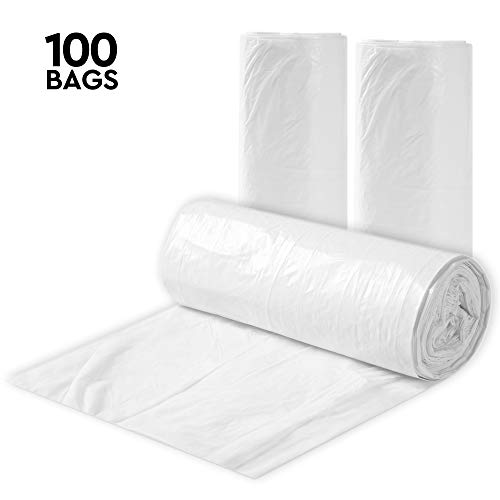Clear 7-10 Gallon Trash Bags, 100 Bulk Pack - Medium Size Garbage Bin Liners for Office, Bedroom and Kitchen Wastebasket Cans - by Executive Collection
