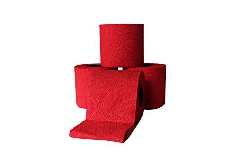 Designer Toilettenpapier 3 lagig ROT farbiges Toilettenpapier (12 Rollen)