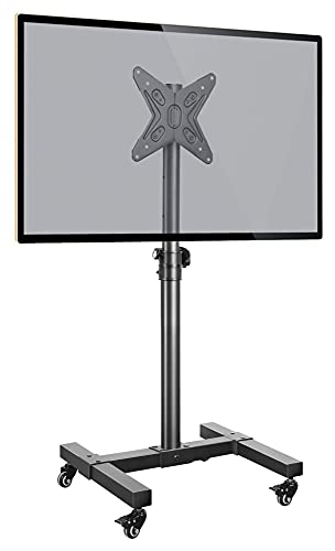 TabloKanvas Soporte de TV móvil con ruedas para carrito de TV de 13 a 43 pulgadas máx. 55 libras con ruedas para carrito de TV con ruedas de altura ajustable (color negro)