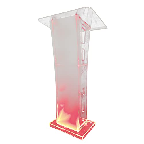 Price comparison product image YIYIBYUS LED Acrylic Transparent Podium American 110v for Speeches,  Opening Ceremonies,  Celebrations and Other Occasions, 1.10m Height, Countertop Size 60x45cm
