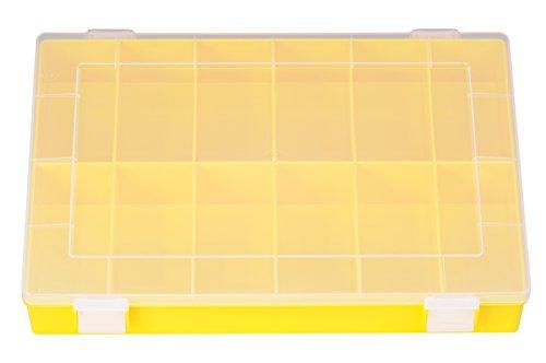 hünersdorff Sortimentskasten: stabile Sortierbox (PP) mit fester Fachaufteilung (12 Fächer), Sortierkasten-Maße: T225 x B335 x H55 mm, Made in Germany